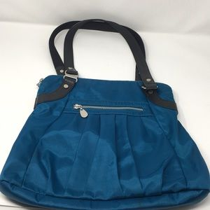 Baggallini Blue Black Leather Trimmed Tote Bag